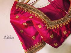 Elegance and intricacy is all that matters ! ❤️ We customised this beautiful bridal blouse for a dear client 😍 Ping us on 9884179863 to… Kids Blouse Designs, Hand Work Blouse Design, Simple Blouse Designs, Stylish Blouse Design, Simple Designs, Wedding Saree Blouse Designs, Pattu Saree Blouse Designs, Blouse Designs Silk, Designer Blouse Patterns