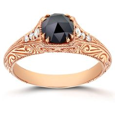 Annello by Kobelli 14k Rose Gold 1ct TDW Black and White Diamond Antique Filigree Engagement Ring