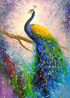 A Magnificent Peacock Birds Art Peacock Art Animals Nature Impressionism Oil Canvas On The Wall Decor For Interior Bright Art - Painting Peacock Canvas, Peacock Wall Art, Peacock Painting, Peacock Wallpaper, Oil Painting On Canvas, Painting Art, Canvas Art, Blank Canvas, Bird Canvas Paintings