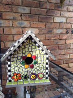 mosaic birdhouse front