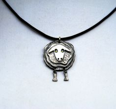 Sterling Silver Sheep necklace whimsical jewelry от NetaGilboa
