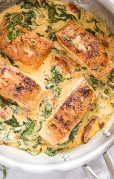 Creamy Tuscan Salmon Creamy Tuscan Salmon Is A 20 Minute Family Friendly Pan Seared Salmon Dinner Recipe With The Most Delicious Sun Dried Tomato Spinach Garlic And Lemon Sauce It 39 S Great Served Over Pasta Rice Or Mashed Potatoes Tuscan Salmon Recipe, Salmon Recipe Pan, Salmon Recipes, Fish Recipes, Seafood Recipes, Cooking Recipes, Healthy Recipes, Bariatric Recipes, Sausage Recipes