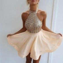 Sexy Short Gold Sequins Halter Backless Dresses for Homecoming Under 100