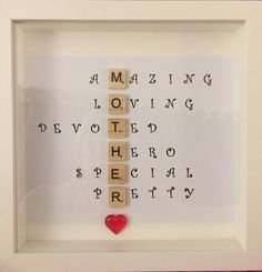 Special Scrabble Mother Mama Frame- Caring Words- Perfect present for mother -unique gift - B. Special Scrabble Mother Mama Frame- Caring Words- Perfect present for mother -unique gift - Birthday present- Mother's Day gift, Diy Gifts For Christmas, Valentines Day Gifts For Him, Gifts For Mom, Present For Mom, Presents For Boyfriend, Boyfriend Gifts, Perfect Gift For Mom, Mother Day Gifts, Birthday Gifts