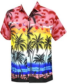 74b23504 Men's Hibiscus Palm Tree Aloha Hawaiian Short Sleeves Button Down Hawaiian  Shirt