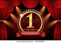 1 years anniversary celebration. with red ribbon. Curtain background and light shine. golden anniversary logo. - stock vector