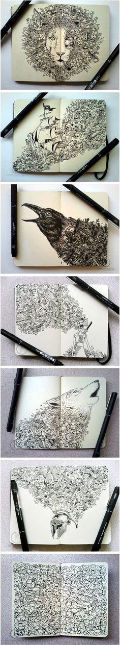Moleskine Doodles es un proyecto del ilustrador Kerby Rosanes.