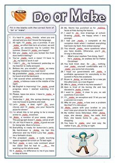 Students fill in the gaps in the sentences using the verbs make or do in the right form depending on the sentences. English Teaching Materials, English Writing Skills, Learn English Grammar, English Phrases, English Language Learning, English Study, English Words, English Lessons, Teaching English