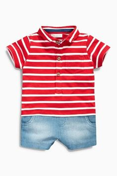 Buy Red/Ecru Stripe Romper (0mths-2yrs)