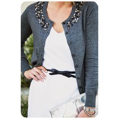 Jeweled Spring Light Cardigan Beautiful and like new Embellished Cardigan. Charcoal color. 1rst pic not actual pic of Cardi. Merona Sweaters Cardigans