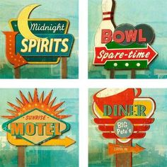 Give a nod to yesteryear with these nostalgic coasters. Each coaster features a unique, inspired road sign pointing you to the closest bowl-a-rama or diner. Made from absorbent stone, these coast (Cool Fonts Retro) Logos Nike, Retro Signage, Store Signage, Diner Sign, Vintage Neon Signs, Vintage Cars, Retro Diner, Retro Logos, Old Signs