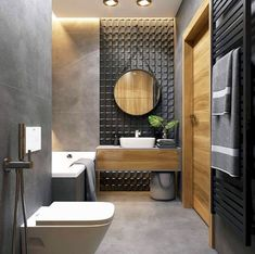 The most interesting about having a modern bathroom is on its simplicity without losing its function. Here, we want to share with you 10 modern bathroom design ideas which will inspire to remodel your old-fashioned bathroom. Latest Bathroom Designs, Contemporary Bathroom Designs, Bathroom Layout, Modern Bathroom Design, Bathroom Interior Design, Small Bathroom, Wc Bathroom, Bathroom Ideas, Bathroom Cabinets