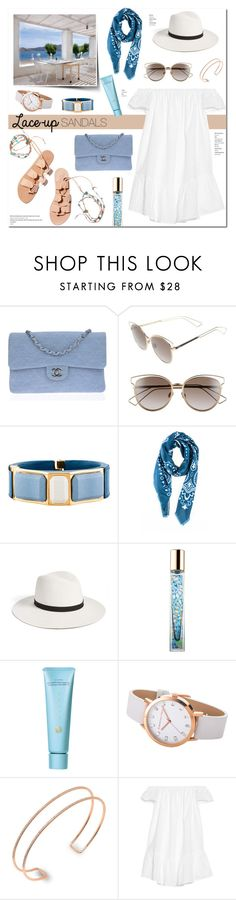 """""""Patmos"""" by stellaasteria ❤ liked on Polyvore featuring Ancient Greek Sandals, Chanel, Christian Dior, Prada, 8aout, Janessa Leone, AERIN, Tatcha, Kenza Lee and Elizabeth and James"""