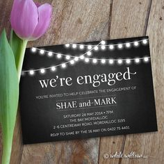 Engagement Party Invitation Engagement Party by WhiteWillowPaper, $20.00 available on etsy apparently. Matches oak room outdoor lights.