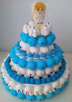 Tarta de chuches Comunión niño Fondant Cakes, Babys, Ideas Para, Beautiful Cakes, Goodies, Candy Stations, Candy Buffet, Torte, Babies