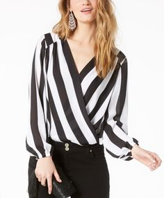 Striped Surplice Top, Created for Macy's - I bought this recently an really like this shirt for casual days in the office. Womens Evening Tops, Easter Dresses For Women, Surplice Top, Skirt Leggings, Ombre Leggings, Gym Leggings, Casual Tops For Women, Green Blouse, Long Tops