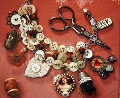 recycled jewelry blog buttons, lace, chain, diy, handmade, craft, trinkets, charm, bracelet