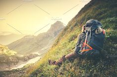 Man Traveler with big backpack by e v e r s t on @creativemarket