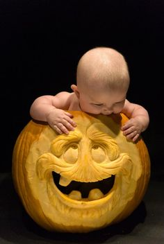 A special delivery within a special delivery! Pumpkin Stencil, Pumpkin Art, Pumpkin Faces, Halloween Pumpkin Images, Halloween Pumpkins, Fall Halloween, Pumpkin Carving Contest, Pumpkin Carvings, Pumpkin Sculpting