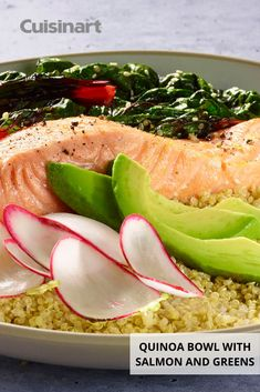 This Quinoa Bowl with Salmon and Greens easily comes together in our CompleteChef Cooking Food Processor, which processes and cooks all in one bowl! Simply add the necessary ingredients and follow the step-by-step directions for a healthy dinner in no time, making your life easier in the kitchen. #salmonrecipe #easydinnerrecipe #summerrecipe #foodprocessorrecipe #cuisinart #savorthegoodlife Summer Recipes, Easy Dinner Recipes, Easy Meals, Making Quinoa, Quinoa Bowl, Greens Recipe, Cooking Food, Salmon Recipes, No Cook Meals