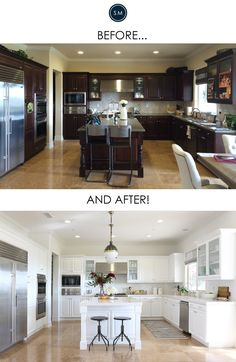 Everyone loves a good before/after, right? In this project, our client's kitchen had great high-end appliances and the cabinets were in excellent condition. However, true to that Tuscan aesthetic that was so popular about 10 years ago...it was very brown. This home has large windows across the back with beautiful coastal views, but the dark tones were absorbing all that good natural light. Soooo we brightened everything up and now it is sunshine-y and happy. A kitchen makeover might ...