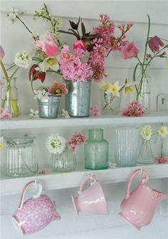 Hyacinths, Hellebores and Blossom on White Shelves