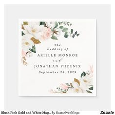 Blush Pink Gold and White Magnolia Floral Wedding Napkins Rose Gold Theme, Gold Wedding Theme, Wedding Themes, Floral Wedding, Wedding Beach, Fairy Lights Wedding, Wedding Napkins, Wedding Invitations, Magnolia Wedding