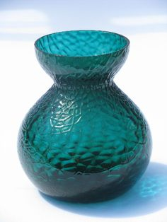 Mod glass vase for forcing bulbs, beautiful teal green colored glass ...