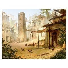 Egyptian Village by Andrew Bosley on ArtStation. Fantasy Village, Fantasy City, Fantasy Places, High Fantasy, Medieval Fantasy, Fantasy World, Art Village, Fantasy Art Landscapes, Fantasy Landscape