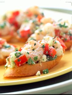 Greek Shrimp Bruschetta: Bruschetta may be a traditional Italian antipasto, but our take on this easy summer appetizer has a Greek twist. Small shrimp are tossed with chopped plum tomatoes, garlic, feta cheese, lemon juice, and a dash of Greek seasoning.