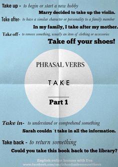 Teaching ideas, phrasal verbs, phrasal verb take