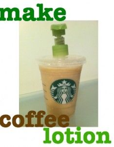 make coffee lotion and a Starbucks lotion dispenser - super easy and a great gift idea :)