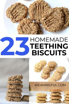 Sore gums and teething pain? Then this collection of 23 teething biscuits recipes can help your baby or toddler go through this stage with less discomfort. Baby Teething Biscuits, Teething Cookies, Baby Cookies, Teething Babies, Summer Cookies, Valentine Cookies, Easter Cookies, Birthday Cookies, Christmas Cookies