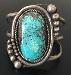 """Heavy (2.79 oz.) old 2 1/2"""" tall navajo spiderweb turquoise & sterling…"""