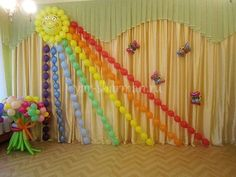 Ballon Decorations, Graduation Decorations, Diwali Decorations, School Decorations, Festival Decorations, Birthday Party Decorations, Paper Flower Tutorial, Rainbow Birthday, Backdrops For Parties