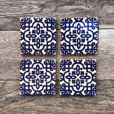 """Bue and White """"Palenque"""" Mexican Tile Coasters Blue Backsplash, Kitchen Backsplash, White Coasters, Wedding Coasters, Willow Pattern, Fabric Rug, Blue Tiles, Tile Art, Different Patterns"""
