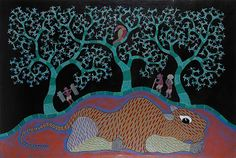 Dhavat Singh - TIGER IN THE FOREST (GOND PAINTING) @ | StoryLTD
