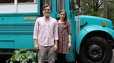 Julie and Andrew Puckett live in their converted school bus in Atlanta, Georgia. They gave Tiny House Listings a tour of their 200 square feet home. School Bus House, Old School Bus, Converted School Bus, Tiny House Swoon, Tiny House On Wheels, Tiny Mobile House, Mobile Homes, Bus Camper, Rv Bus