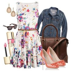 Floral Dress + Jean Jacket by bramblewoodfashion, via Polyvore