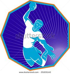 Vector illustration of a handball player jumping throwing ball taking the shot set inside hexagon done in retro style.