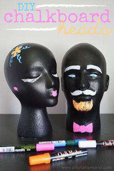 DIY Chalkboard Heads at artsyfartsymama.com #MakeItFun