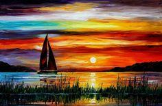 FLORIDA-LAKE OKEECHOBEE — Palette knife Oil Painting  on Canvas by Leonid Afremov.   - Size 72x48