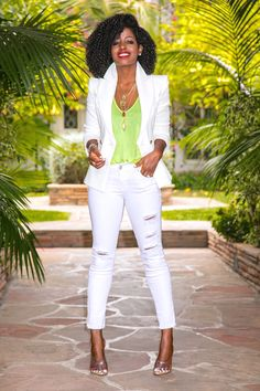 Style Pantry | Fitted White Blazer + Tank + Ripped White Jeans