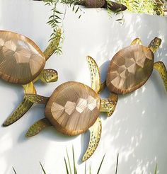 Our Sea Turtle Trio Wall Decor is an artistic rendering of these enchanting and adored sea creatures.