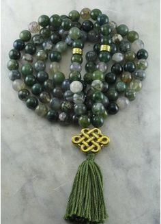 Ayurvedic Stability Mala - Moss Agate Mala Beads 108, Meditation, Yoga