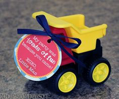 Transportation birthday theme thank-you/party favor (link is to a Toy Story themed party...lots of cute ideas)!