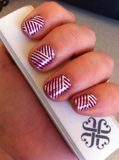 Purple & Silver Crisscross Jamberry Nail Wraps. Over 300+ designs, patterns & colors available, along with our exclusive Nail Art Studio, which allows you to create your own custom designs from any photo-we've got something for EVERYONE! Easy to apply, non-toxic & long lasting, see why women everywhere are ditching the polish & switching to Jamberry! To purchase, go to www.taraeman.jamberrynails.net