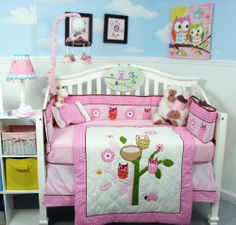 $139.99-$139.99 Baby SoHo Owl Tree Party Baby Crib Nursery Bedding Set with Pink Baby Carrier 8 pcs set - This Set Fits all Toddler Beds and Cribs (Single or Convertible) (USA, UK, AU, Etc..) The Set includes following 8 pieces: * Hand Embroidery Crib Quilt * Hand Embroidery Crib Bumper * Fitted Sheet * Crib Skirt (Dust Ruffle) * Baby Booties * Baby Bib * Baby Pillow * Soho Classic baby carrier  ...