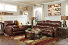 The Beadle Power Reclining Sofa from Ashley Furniture HomeStore (AFHS.com). Leather Match upholstery features top-grain leather in the seating areas with skillfully matched vinyl everywhere else.
