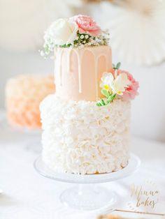 Minnan tyttären ristiäiskakku on uskomattoman upea kaksikerroksinen unelma! Värit ovat todella kauniit ja tytön juhliin sopivat, kakku näyttää aivan vastustamattomalta! Lue Minna Bakes -blogista lisää näistä ristiäisjuhlista!
